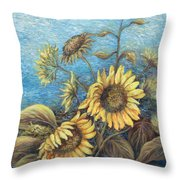 Late Sunflowers  Throw Pillow