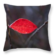Lateral Red Leaf Throw Pillow