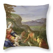 Latona And The Frogs Throw Pillow