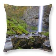 Latourell Falls Sunset Throw Pillow