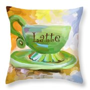 Latte Coffee Cup Throw Pillow