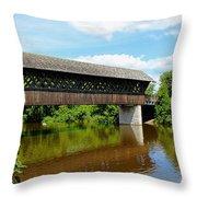 Lattice Covered Bridge Throw Pillow