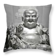 Laughing Buddha - A Symbol Of Joy And Wealth Throw Pillow by Christine Till
