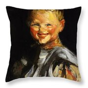 Laughing Child 1907 Throw Pillow