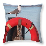 Laughing Gull At Lewes Throw Pillow