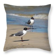 Laughing Gulls On The Beach Throw Pillow