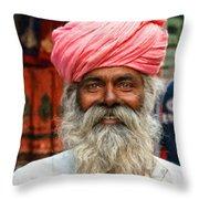 Laughing Indian Man In Turban Throw Pillow