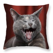 Laughing Kitty Throw Pillow