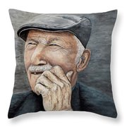 Laughing Old Man Throw Pillow
