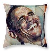 Laughing President Obama V2 Throw Pillow