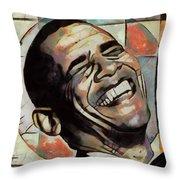 Laughing President Obama Throw Pillow