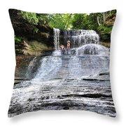 Laughing Whitefish Waterfall In Michigan Throw Pillow