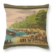 Launching Of The Griffin.  July 1679 Throw Pillow