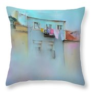 Laundry Day Blues Throw Pillow