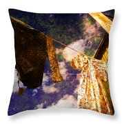 Laundry Day In China Town Throw Pillow