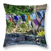Laundry Drying In The Wind Throw Pillow