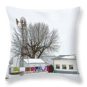 Laundry Drying In Winter Throw Pillow