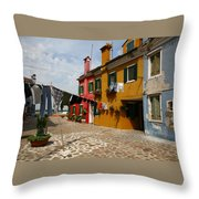 Laundry Held By Wooden Pole Throw Pillow