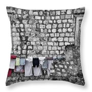 Laundry Line - Dubrovnik Croatia #3 Throw Pillow
