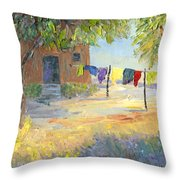 Laundry Yard Throw Pillow