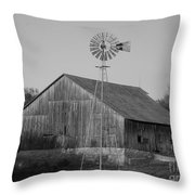 Laurel Road Barn In Black And White Throw Pillow