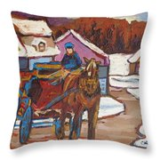 Laurentian Carriage Ride Throw Pillow
