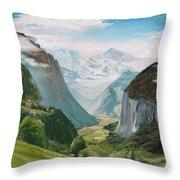 Lauterbrunnen Valley Switzerland Throw Pillow