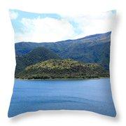Lava Dome Island In Lake Cuicocha Throw Pillow