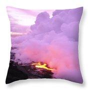 Lava Enters Ocean Throw Pillow