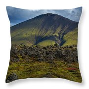 Lava Field And Mountain - Iceland Throw Pillow