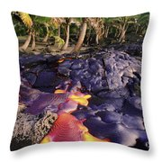 Lava Flow And Palms Throw Pillow