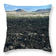 Lava Flow And Schonchin Butte, Lava Beds Nm, California, Usa Throw Pillow