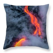 Lava Flowing Into The Ocean 20 Throw Pillow by Jim Thompson