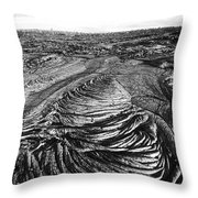 Lava Landscape - Bw Throw Pillow