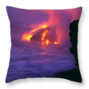 Lava Meets Ocean Action Throw Pillow