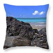 Lava Rocks At Haena Beach Throw Pillow