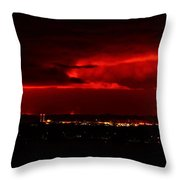 Lava Skies Over Hilo Bay Throw Pillow