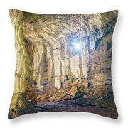 Lava Tunel On Santa Cruz Island, Galapagos Throw Pillow