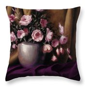 Lavander And Pink Flowers In Silver Vase Throw Pillow