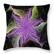 Lavendar Fractal Flower Throw Pillow