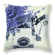 Lavender And Kodak Brownie Camera Throw Pillow