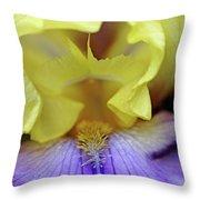 Lavender And Yellow Iris Heart Throw Pillow