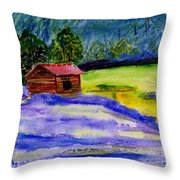 Lavender Barn Throw Pillow