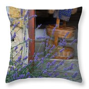 Lavender Blooming Near Stairway Throw Pillow
