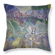 Lavender Fairies Throw Pillow