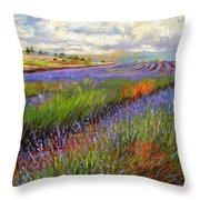 Lavender Field Throw Pillow by David Stribbling