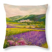 Lavender Fields Landscape Throw Pillow
