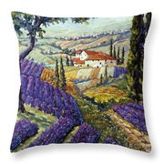 Lavender Fields Tuscan By Prankearts Fine Arts Throw Pillow