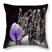 Lavender Flower At Fountain Throw Pillow