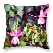 Lavender Fuchsias Just Hanging Around The Garden Throw Pillow